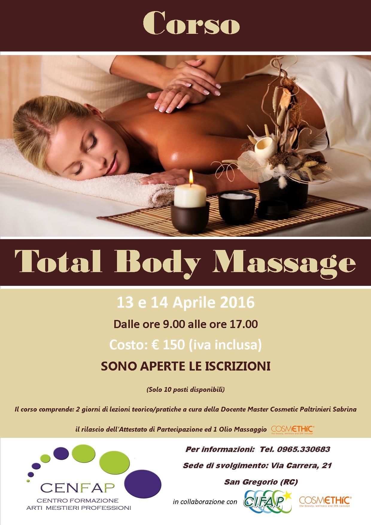 Corso Total Body Massage Aprile 2016